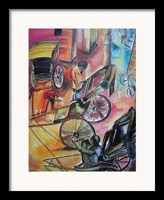 Hand Pulling Rickshaw Framed Prints