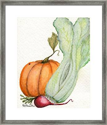 Celery Dish Framed Print by Paula Greenlee