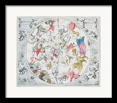 Celestial Planisphere Showing The Signs Of The Zodiac Framed Prints
