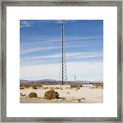 Cellular Phone Tower In Desert Framed Print