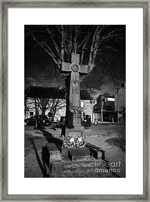 Celtic Cross War Memorial In Market Place In The Peak District Village Of Castleton Derbyshire Framed Print by Joe Fox