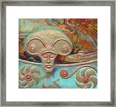 Celtic Warrior Ritual Mask Framed Print by Zoran Peshich