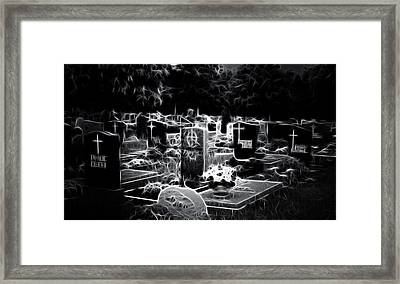 Cemetary At Night Framed Print