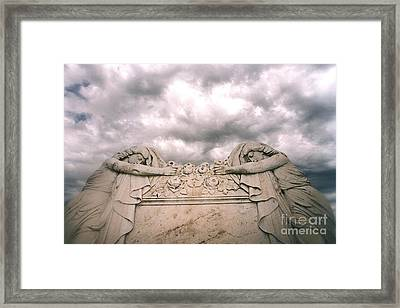 Cemetery Mourners Draped Across Rose Coffin Framed Print by Kathy Fornal