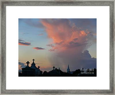 Framed Print featuring the photograph Cemetery Skies by Jeanne  Woods