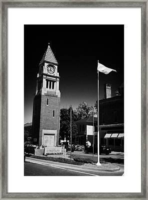 Cenotaph Clock Tower And Flagpole Niagara-on-the-lake Ontario Canada Framed Print by Joe Fox