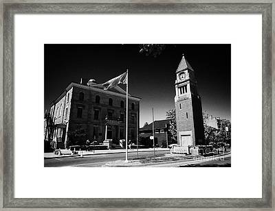 Cenotaph Clock Tower And Old Court House On Queen Street Niagara-on-the-lake Ontario Canada Framed Print by Joe Fox