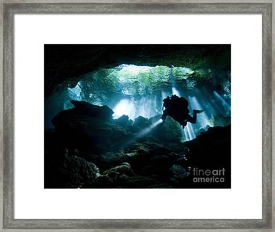 Cenote Diver Enters Taj Mahal Cavern Framed Print