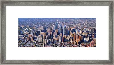 Center City Aerial Photograph Skyline Philadelphia Pennsylvania 19103 Framed Print by Duncan Pearson