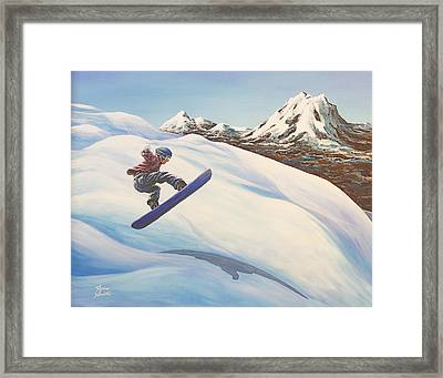 Central Oregon Snowboarding Framed Print by Janice Smith