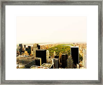 Central Park And The New York City Skyline From Above Framed Print