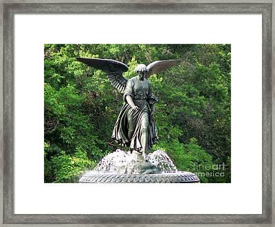 Central Park Angel Framed Print by Elizabeth Fontaine-Barr
