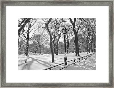 Central Park Snowfall Bw Framed Print by Andrew Kazmierski