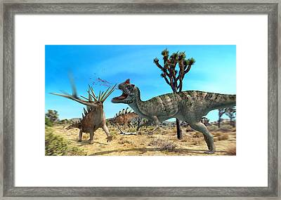 Ceratosaurus And Dacentrurus, Artwork Framed Print by Jose Antonio PeÑas