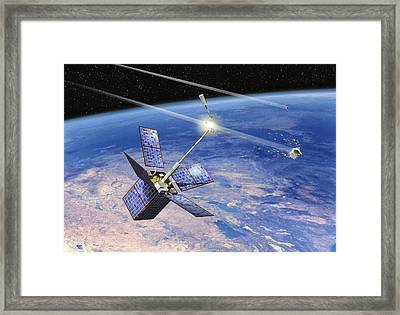 Cerise Satellite Collision, Artwork Framed Print by David Ducros