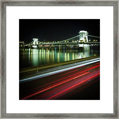 Chain Bridge At Night In Budapest Framed Print by Mark Whitaker