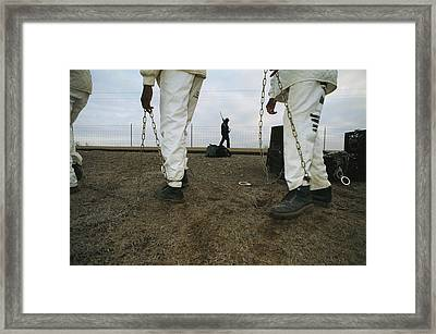 Chain Gang Prisoners Being Watched Framed Print by Bill Curtsinger