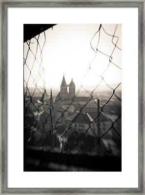 Chain Link Fence With Church Framed Print