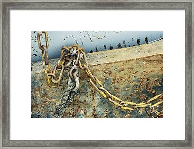 Framed Print featuring the photograph Chain Over Ship's Side by Agnieszka Kubica