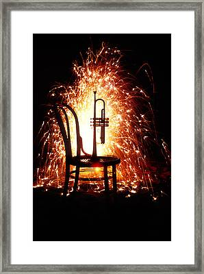 Chair And Horn With Fireworks Framed Print by Garry Gay