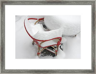 Chair In Winter Covered With Lots Of Snow Framed Print