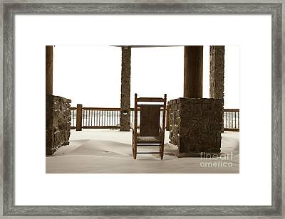 Chair On A Snowy Balcony Framed Print by Will and Deni McIntyre