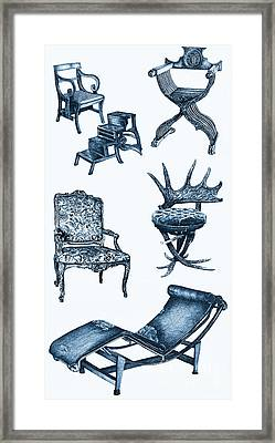 Chair Poster In Blue Framed Print by Adendorff Design