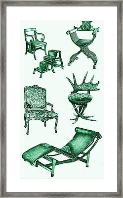 Chair Poster In Green  Framed Print by Adendorff Design