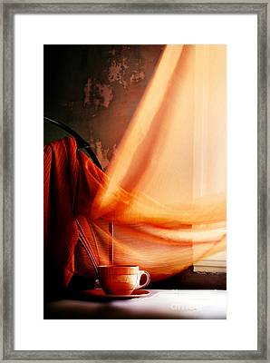 Chair With Coffee Cup Framed Print by HD Connelly