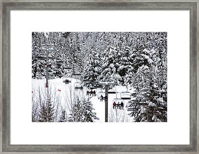 Chairlift In The Snow, Alyeska Ski Resort Framed Print by Mark Newman