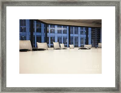 Chairs And Table In A Conference Room Framed Print by Jetta Productions, Inc