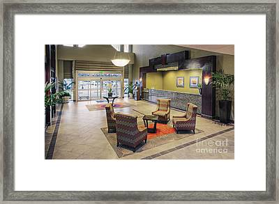 Chairs And Tables In Hotel Lobby Framed Print by Andersen Ross