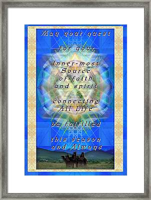 Chalice Star Over Three Kings Holiday Card Light With Text Framed Print