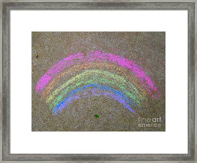 Framed Print featuring the photograph Chalk Rainbow On Sidewalk by Renee Trenholm