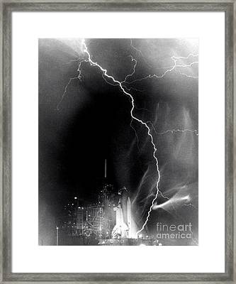 Challenger Struck By Lightning Framed Print by Nasa