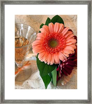 Champagne And Daisies Framed Print