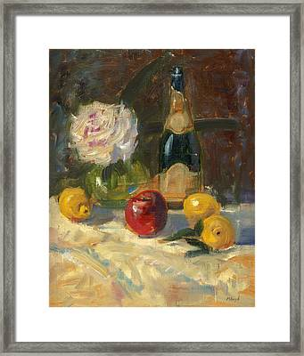 Framed Print featuring the painting Champagne And Roses by Marlyn Boyd