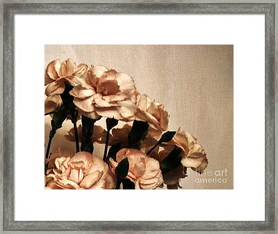 Champaign And Flowers Framed Print by Marsha Heiken