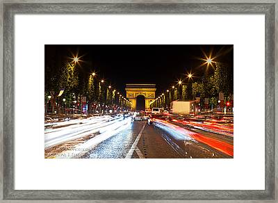 Champs-elysees And The Arc De Triomphe Framed Print by Anthony Festa