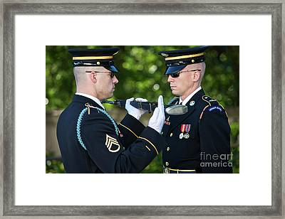 Changing Of Guard At Arlington National Framed Print