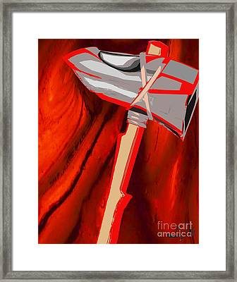 Chango's Axe Liquid Framed Print by Liz Loz