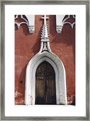 Chapel Entrance In White And Brick Red Framed Print by Agnieszka Kubica
