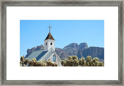 Framed Print featuring the photograph Chapel In Superstitions by Penny Meyers