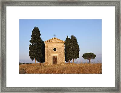 Chapel Of Vitaleta With Cypress Trees Near Sunset Framed Print by Martin Ruegner