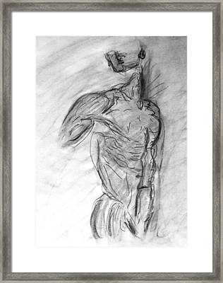Charcoal Classic Jesus Male Nude Looking Over Shoulder Sketch In A Sensual Primal Erotic Black White Framed Print by M Zimmerman
