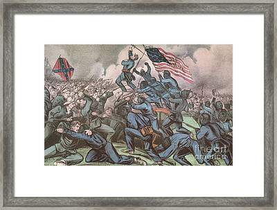 Charge Of The 54th Massachusetts Framed Print by Photo Researchers