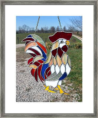 Charlemagne A Stained Glass Rooster Framed Print