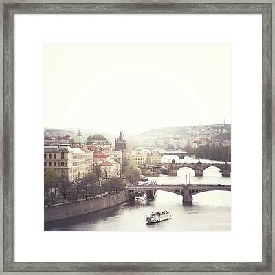 Charles Bridge Crossing Vltava River Framed Print