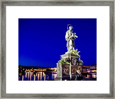 Charles Bridge Statue Of St John Of Nepomuk     Framed Print by Jon Berghoff
