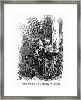 Charles Dickens (1812-1870). English Novelist. The Very Young Charles Dickens Working At A Blacking Warehouse In London. Wood Engraving, Late 19th Century Framed Print by Granger